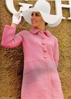 VINTAGE 1960 WOMEN'S WINTER PINK JACKET COAT 84 CM'S LONG DK PLY CROCHET PATTERN