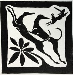 Greyhounds love to chase rabbits. This tile design captures this with a graceful flow.