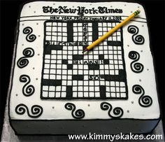 NY Times crossword puzzle. 10 inch square covered in bc. Fondant pencil. :-)