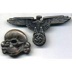 Eagle and skull from SS cap - German rings and other Nazi awards Military Cap, Military Personnel, German Uniforms, Visor Cap, Skull Art, Headgear, Ww2, Joachim Peiper, Criminal Tattoo