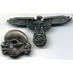 Eagle and skull from SS cap - German rings and other Nazi awards