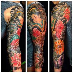 i like horimono. - Geisha sleeve by @rory_pickersgill_tattoo by...