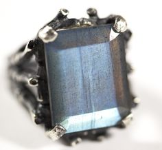 NEW: The 'Hecate' ring in Sterling Silver & Labradorite – Blood Milk Jewels