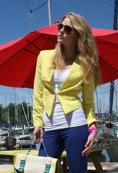 Neon Short Yellow Blazer.. one in each color please! @privategallery