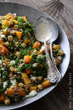 Roasted Butternut Squash Salad with Chickpeas, Kale, and Pearl Couscous Recipe|| sub agave for honey to veganize