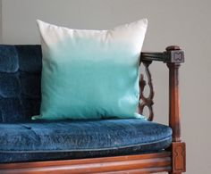 ombre mint dip dye pillow   18 x 18 pillow cover   one of a kind on Etsy, Sold