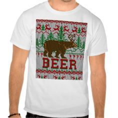 Bear Deer or Beer Sweater Knitting Style T Shirts