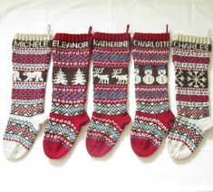 For 2015: Personalized Knitted Christmas Stockings Set of 5 - Hand knitted Xmas Stockings with Fair Isle Pattern (will ship in 2015)