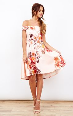 Peach Floral Print Off The Shoulder Skater Dress - Lilah Rose - SilkFred 5c6aa9438