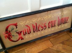 Victorian tapestry - 'God bless our home'