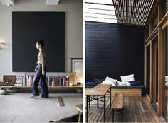 I just love this image on the left, from the rustic low wooden shelf on stones to the bare black piece on the wall to Miss Lady's highwaisted flare pants and high bun.  Perfecto!