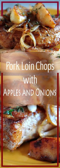 Ingredients 2 8 to 10 ounce pork loin chops, 1 inch thick Kosher salt and freshly ground pepper 1 tablespoon […] Pork Lion Chops Recipes, Easy Pork Chop Recipes, Pork Tenderloin Recipes, Onion Recipes, Pork Recipes, Healthy Recipes, Pork Meals, Pork Roast, Apple Pork Chops