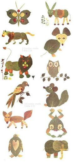 Collect leaves and other items and help your kids create squirrels, owls and other animals that live in the Elliott. From Blättertiere.