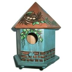 Painted Bird Houses | Teal & Brown Bird House Hand Painted Bird House by JuliesGiftbox, $26 ...