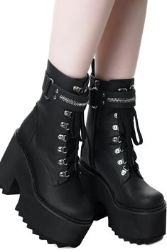The stunning 'Overhead' platforms boots are made in a high-grade [matte] faux-leather to match your wardrobe perfectly. Featuring a decorative zip ankle strap and an 8 hole lace-up front with side-zip for easy on/off. With a high platform . Emo Shoes, Grunge Shoes, Cute Shoes, Me Too Shoes, Pastel Goth Shoes, Platform Boots Outfit, Black Platform Boots, Goth Platform Shoes, Goth Boots