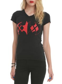 DC Comics tee with a Batman logo filled with a Harley Quinn design.