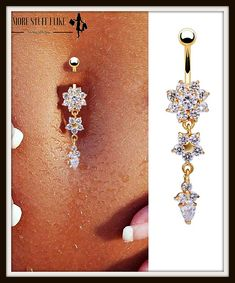 """Beautiful Crystal Flower Dangle Gold Navel Belly Button Ring """" FREE SHIPPING """""""