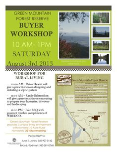 Sat, Aug 3rd, Free WREDCO Home Buyer Workshop PLUS BBQ with Gourmet Touches at Green Mountain Forest Reserve! Contact June Jones or Erica Rodman at Woodland Real Estate in Woodland, WA!