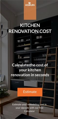 Discover the cost of your kitchen remodeling project and how it would affect the value of your property with this free Remodeling Cost Calculator, give it a try! [Kitchen Remodeling Cost, Kitchen Renovations, Home Improvements] #RemodelCost #KitchenRenovationCost #KitchenRemodeling