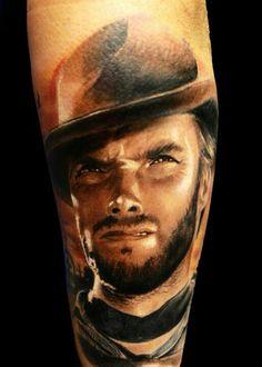 Clint Eastwood tattoo portrait by Michele Agostini -Tribal Tattoo Studio Roma. Color portrait!