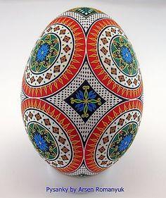 Real Ukrainian Pysanka (goose egg shell) batik technique. pysanky pisanki easter