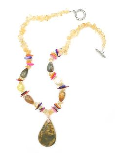 """Natural Stone 1 3/4"""" Tan Brown Golden Drop Pendant with Pink Orange Yellow Chip Gem Beads One of a Kind 18"""" Necklace Witch and Rich http://www.amazon.com/dp/B00R02I4BS/ref=cm_sw_r_pi_dp_DZ8jvb1XRANQG"""