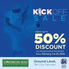 Crescendo Audio and Music Store is kicking off the month of February with exciting deals on Casio-EMI, Epiphone and Gibson guitars!  Enjoy up to 50% DISCOUNT on selected musical instruments.  Don't miss this chance to grab the musical instruments you are eyeing for!  Visit Crescendo at the Lower Ground Floor, SM Fairview Main Building for more details.  Promo is valid from February 1 to 29, 2016.  http://mypromo.com.ph/