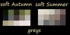 Soft Autumn compared to soft summer grays ... notice S.Autumn has a golden or yellow-green undertone while soft summer has a blue undertone -- just a smidgen different