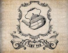 Antique Ornate Teapot Tea Time Ribbons Friendship Pocketwatch Digital Download for Papercrafts, Transfer, Pillows, etc Burlap No. 7905. $1.00, via Etsy.