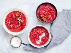 Borssikeitto | Valio Soup Recipes, Salsa, Fish, Meat, Vegetables, Ethnic Recipes, Soups, Recipe Ideas, Recipes