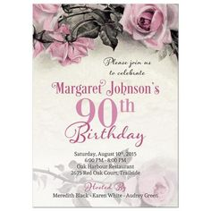 Vintage Pink Grey Gray And Ivory Rose 90th Birthday Party Invitation Front