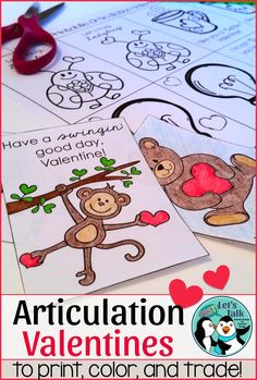 Valentine Speech Therapy - printable articulation valentines for students to cut, color, & trade. Great for mixed language and artic. groups!