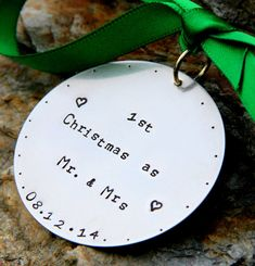 Personalized hand stamped Christmas Ornament by whiteliliedesigns