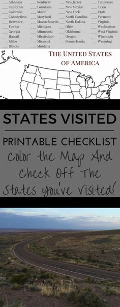 Printable States Visited Checklist - Road Trip the World States Visited Map, Travel With Kids, Family Travel, Michigan Ohio, Road Trip Destinations, Road Trip Hacks, Where To Go, Vacation Spots, Trip Planning