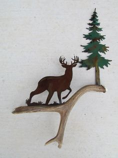 C107) Whitetail at a Stance, Authentic Deer Antler & Metal Wall Art