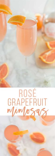 Grapefruit Mimosa -- This delicious blush drink is a creative spin on the traditional mimosa recipe. Rosé champagne mixed with grapefruit juice is the perfect flavor combo. Make this rosé grapefruit mimosa recipe for your next brunch! Brunch Drinks, Party Drinks, Fun Drinks, Yummy Drinks, Alcoholic Drinks, Beverages, Mimosa Brunch, Mimosa Bar, Summer Cocktails
