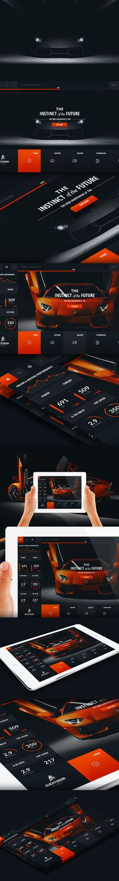 Lamborghini Aventador - Web Layout by Detrans - Studio, via Behance