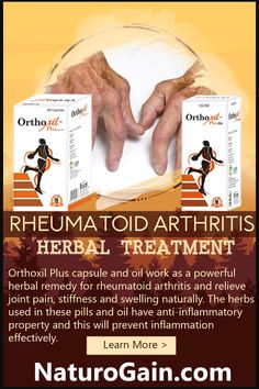 Rheumatoid Arthritis Herbal Treatment, Joint Swelling and Pain Orthoxil Plus capsule and oil work as the best rheumatoid arthritis herbal treatment. These natural supplements fight joint swelling, inflammation, discomfort, stiffness and pain. Rheumatoid Arthritis Awareness, Rheumatoid Arthritis Treatment, Arthritis Pain Relief, Alternative Health, Alternative Medicine, Natural Supplements, Autoimmune Disease, Herbal Remedies