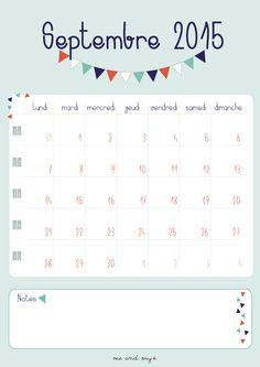 Calendrier de septembre à télécharger (gratuitement) sur notre nouveau blog => https://desfillesetdestriangles.wordpress.com/2015/08/18/le-calendrier-de-septembre/