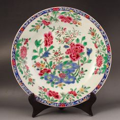 Hand-painted Chinese Qing Dynasty Famille Rose Porcelain Plate 229*229*28(mm)