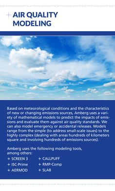 Contact Amberg for Air Quality Modeling at (403) 247-3088 or visit us online at www.amberg.ca