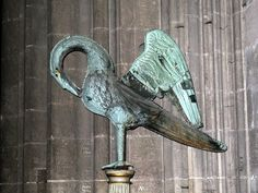 The original 16th-Century bronze pelican weathervane (1542), now in a corner of the nave, Bourges Cathedral, France by Hunky Punk, via Flickr