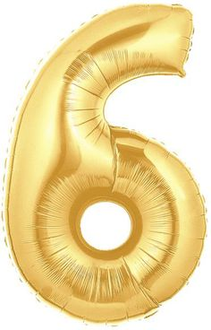 Gold Mylar Balloons number 6 - WorldOfpinatas.com