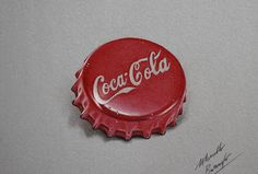 Cocacola red bottle cap DRAWING by marcellobarenghi Realistic Pencil Drawings, Cool Art Drawings, Pencil Art Drawings, Colorful Drawings, Cap Drawing, Object Drawing, Food Drawing, Colored Pencil Artwork, Color Pencil Art
