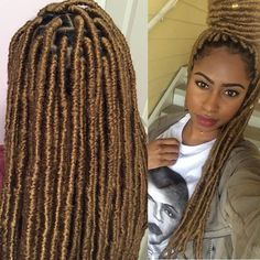"""Loving these blonde Locs! These are 18"""" Medium/Large Faux Locs in color 27…"""