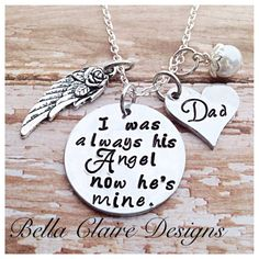 #CJLinkUp I was always his angel now hes mine i used to be his angel now hes mine memorial necklace memorial jewelry loss of a parent daddys girl