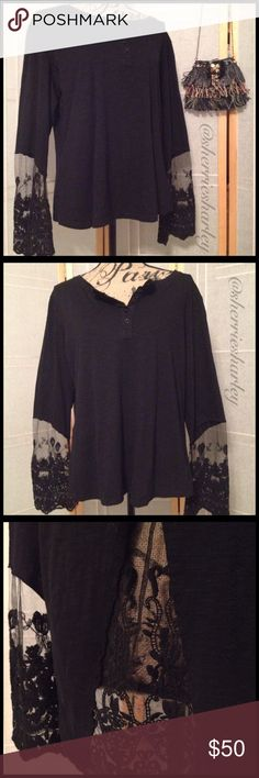 """Bodacious Black Lace Long Sleeve Henley XXXXL Lace Bodacious Beauty. Black Button-down Henley with Long Sleeves and Back teaming with Sexy Lace for a sheer sexy look. Easy to dress up or down in this plus size Lace Henley. Tag says XXXXL, but fits like XXXL. Measures 24"""" armpit to armpit flat. Measures 22"""" left to right at waist. Hips are 24"""" flat across. Tops Button Down Shirts"""