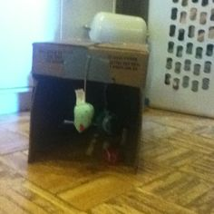 DIY Cat Toy. Grocery store box, tennis ball, yarn, duct tape, and hung a toy at box entrance that before had no appeal to the kitty.