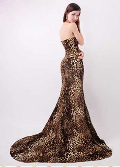 Leopard Mermaid Sweep Train Evening Dress