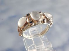 Triple Moonstone/Multi Sapphire Ladies Ring